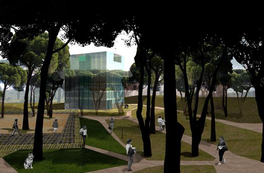 CENTRO-DOCUMENTACION_Infografia_Exterior-Caminos-bajo-pinos